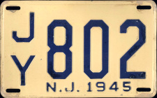 New Jersey License Plate 1945