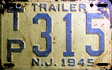 New Jersey Trailer License Plate 1945