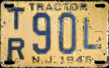 New Jersey Tractor License Plate 1945