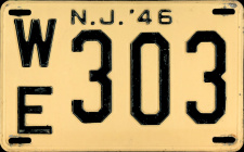 New Jersey License Plate 1946