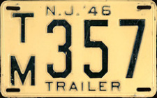 New Jersey Trailer License Plate 1946