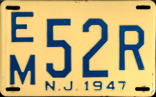 New Jersey License Plate 1947