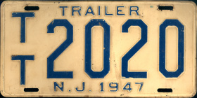 New Jersey Trailer License Plate 1947