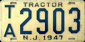 New Jersey Tractor License Plate 1947