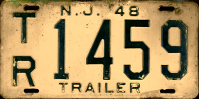 New Jersey Trailer License Plate 1948