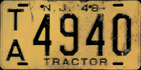 New Jersey Tractor License Plate 1948