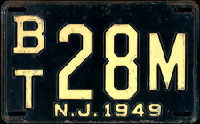 New Jersey License Plate 1949