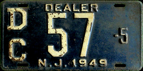 New Jersey Dealer License Plate