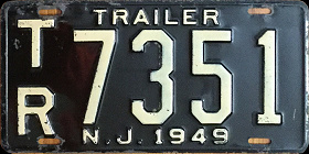 New Jersey Trailer License Plate 1949