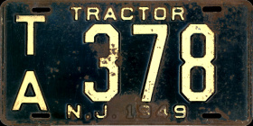 New Jersey Tractor License Plate 1949