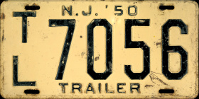 New Jersey Trailer License Plate 1950