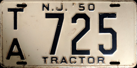 New Jersey Tractor License Plate 1950