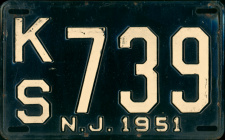 New Jersey License Plate 1951