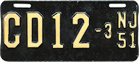 New Jersey Motorcycle Dealer License Plate 1951