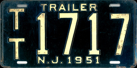 New Jersey Trailer License Plate 1951