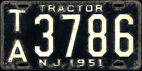 New Jersey Tractor License Plate 1951