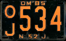 New Jersey Omnibus OM'BS Livery License Plate