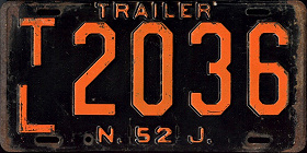 New Jersey Trailer License Plate 1952
