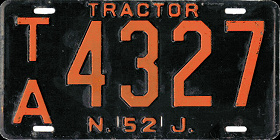 New Jersey Tractor License Plate 1952
