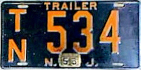 New Jersey Trailer License Plate 1953