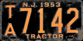 New Jersey Tractor License Plate 1953