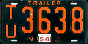 New Jersey Trailer License Plate 1954