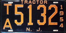 New Jersey Tractor License Plate 1954