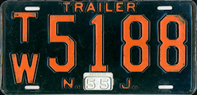 New Jersey Trailer License Plate 1955