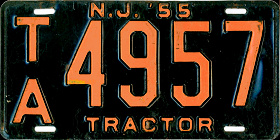 New Jersey Tractor License Plate 1955