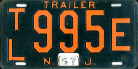 New Jersey Trailer License Plate 1957