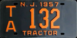 New Jersey Tractor License Plate 1957
