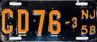 New Jersey Motorcycle Dealer License Plate 1958