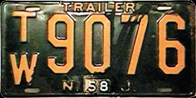 New Jersey Trailer License Plate 1958