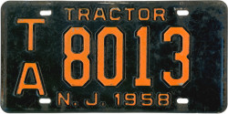 New Jersey Tractor License Plate 1958