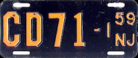 New Jersey Motorcycle Dealer License Plate 1959