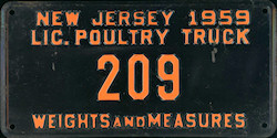 New Jersey Poultry Truck License Plate