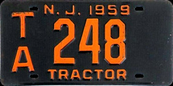 New Jersey Tractor License Plate 1959
