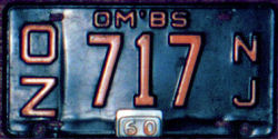 New Jersey Omnibus OM'BS License Plate