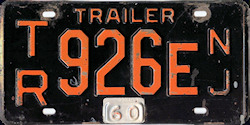 New Jersey Trailer License Plate 1960