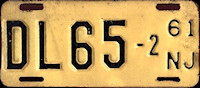 New Jersey Motorcycle Dealer License Plate 1961