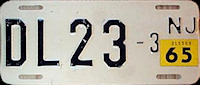 New Jersey Motorcycle Dealer License Plate 1965