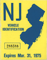 New Jersey Vehicle Identification Tax Sticker