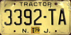 New Jersey Tractor License Plate 1977