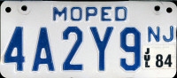 New Jersey Moped License Plate