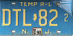 New Jersey Dealer Temporary Rental Lease Temp R-L License Plate
