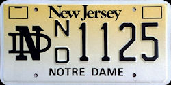 New Jersey Notre Dame University License Plate