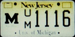 New Jersey University of Michigan License Plate