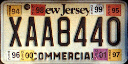 New Jersey Commercial Truck License Plate 1994 2001