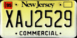 New Jersey Commercial Truck License Plate 1995