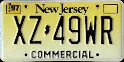 New Jersey Commercial Truck License Plate 1997